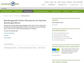 Bewerbungsportale • Studium • Freie Universität Berlin